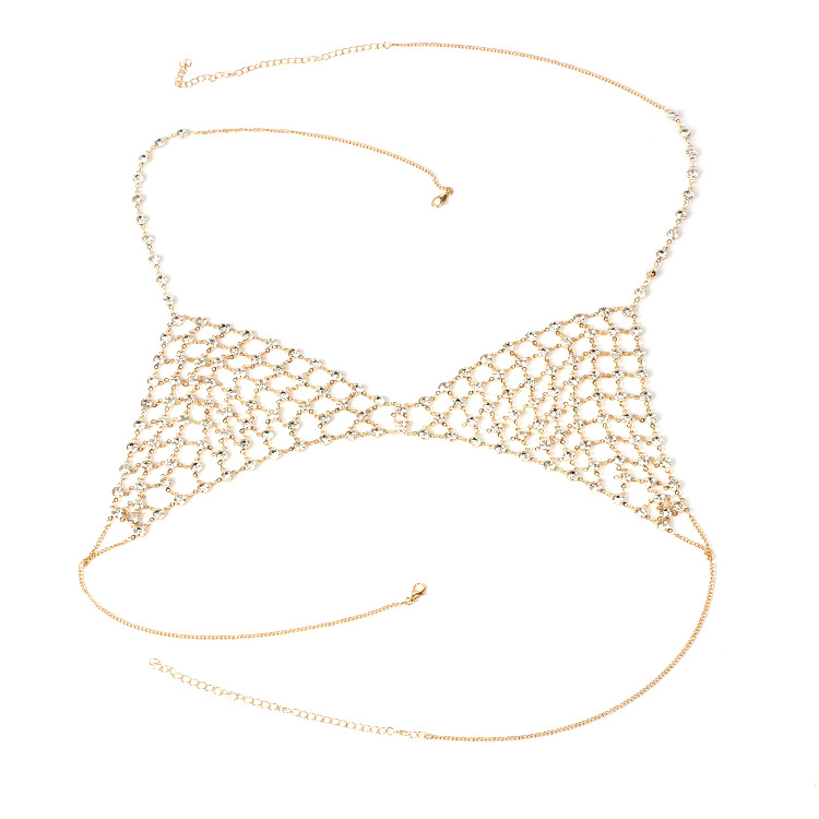 Europe and America exaggerated multi-layer rhinestone body chain necklace new ladies sexy beach bikini chest chain Featured Image