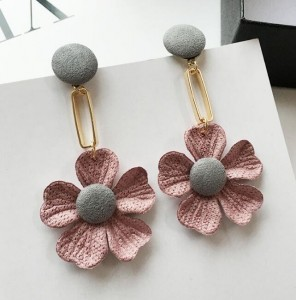Personality sweet handmade fabric flowers pendant fashion korean earrings