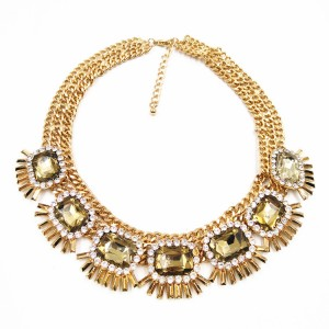 New Design Gold Plated Luxury Crystal Statement Necklace Costume Jewelry Choker Necklaces