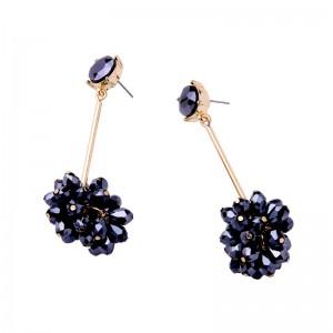 Fashion Glass Gold Plated Flower Pendant Earrings for Women