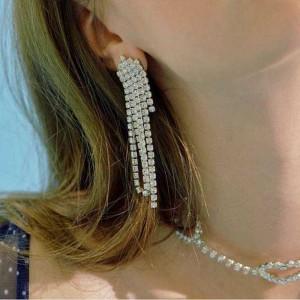 Wholesale Fashion Accessories Wedding Long Rhinestone Tassel Earrings For Women