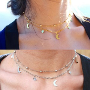 Simple double-decker moon stars short necklace chain bead clavicle chain collar
