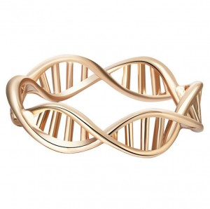 WENZHE Latest Gold Plated Alloy DNA Hollow Spiral Molecules Finger Rings