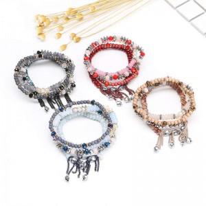 Fashion jewelry boho crystal stone beaded fringe stretch bracelet jewelry female