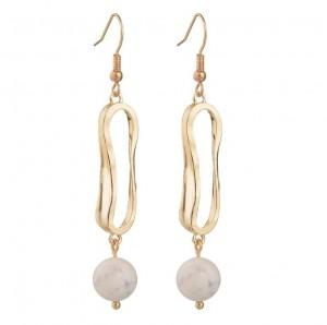 Fashion new designs geometry alloy gemstone bead pendant 24k gold earring