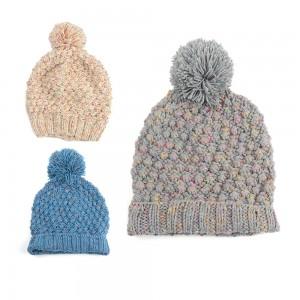 WENZHE High quality Custom Winter Warm Ski Hat Slouchy Pom Pom Beanie
