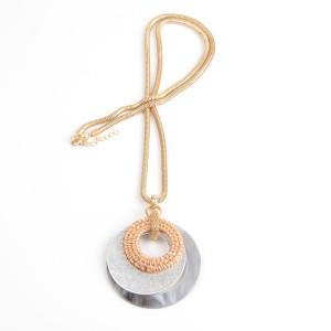 WENZHE Rattan Acrylic Circles Pendant Gold Chain Necklace