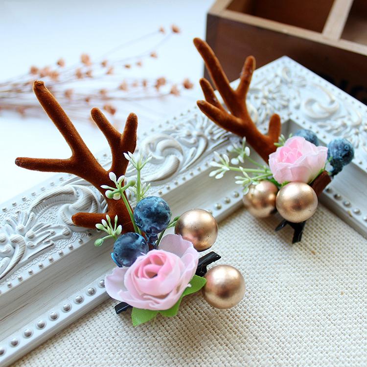 Fashion-Design-Handmade-Antler-Hairclips-Christmas-Flower (2)