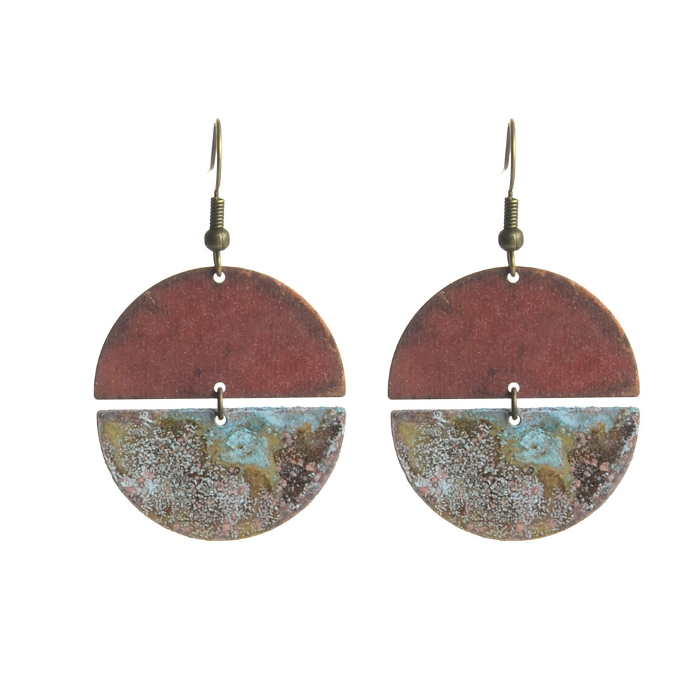 WENZHE Fashion Retro Geometric Semi-circle Connection Old Metal Earrings For Women Featured Image