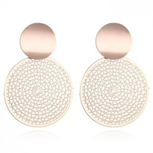 Exquisite exaggerated metal hollow geometric round cake big circle earrings
