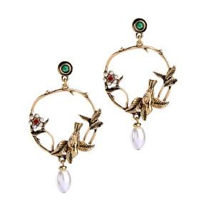 Vintage elegant pearl flower bird stud earrings pearl earring for women