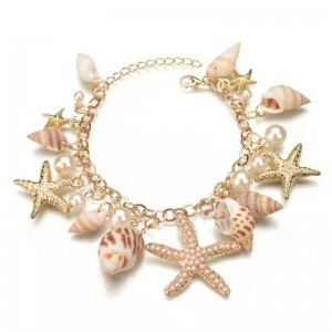 WENZHE Korean Fashion Bohemian Ocean Summer Pearl Starfish Conch Shell Charm Bracelet Women