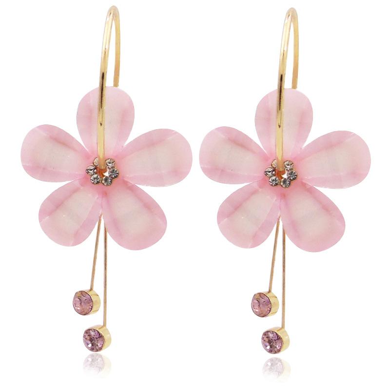 Fashion-flower-petal-alloy-acrylic-diamond-earrings (2)