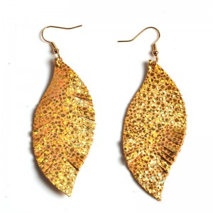 WENZHE New Design Leather Leaf Shape Earrings For Women