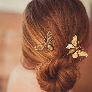 Hair Accessories Bobby Pin Gold Tone Party Costume Fashion Metal Bee Hair Clip
