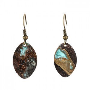 Handmade geometric small round pie patina earrings natural copper oxide rust ear jewelry
