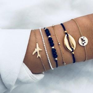 New Fashion Gold Plated Shell Airplane Bead Chain Map Bracelet Set Couple Bracelets 6pcs/Set
