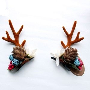 Fashion Design Handmade Antler Hairclips Christmas Pine Cones Hairclip For Children