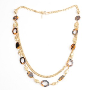 WENZHE Gold Plated Amber Acrylic Multi-layer Necklace
