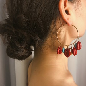 WENZHE Big Hoop Turquoise Red Spray Paint Seashell Exaggerated Boho Earrings