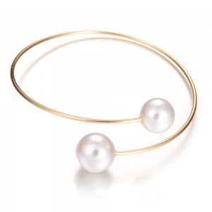 New Fashion Simple Double Pearl Round Beads Open Gold Cuff Bangle Bracelets