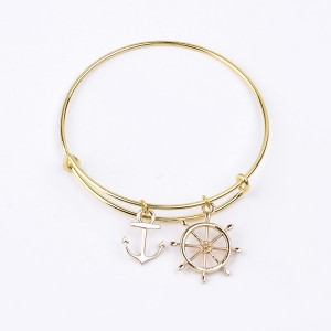 Antique Expandable Bangle Adjustable Charm Anchor Pendant Bangle Bracelet