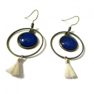 Simple Hoop Earrings Blue Everyday Hoops Circular Earring  White tassel