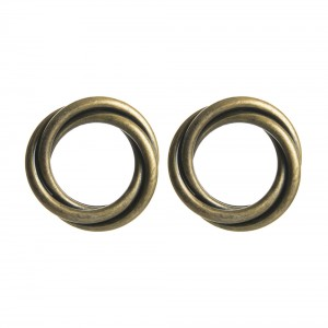 WENZHE Vintage Style Antique Brass Color Circles Stud Earrings For Women