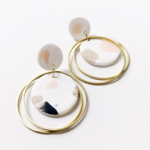 Circle Terrazzo Polymer Clay Earring Statement Earring Dangly Tassel Earring