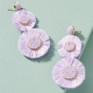 WenZhe Plated Metal Cotton Plastic Beads Sunflare Drop Dangling Earrings