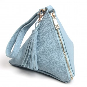 WENZHE Unique Fashion PU Leather Triangle Coin Purse Wristlet Wallet With Tassels