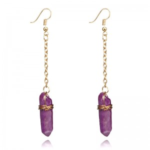 New Trend Creative Handmade Multicolor Natural Stone Women Crystal Stone Dangle Earrings