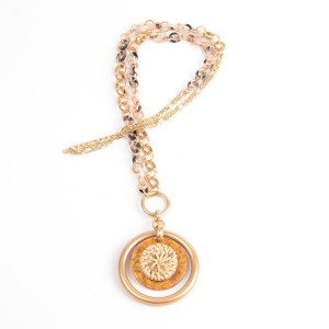 WENZHE Gold Plated Rattan Circles Pendant Acrylic Chain Necklace