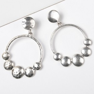 New Arrival Silver Plated Geometric Circle Drop Earring