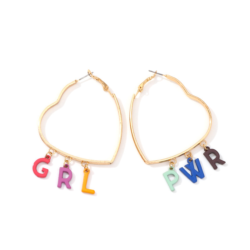 WENZHE European and American new fashion letter big heart hoop earrings Featured Image