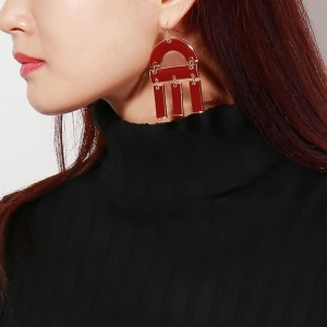 New exaggerated personality geometry enamel statement big earrings ladies earrings