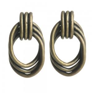 WENZHE Wholesale Irregular Shaped Geometric Antique Brass Stud Earrings Women Jewelry