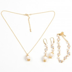 WENZHE Gold Crystal Pearl Necklace Bracelet Earring Jewelry Sets