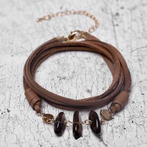 Wholesale DIY Custom Natural Stone Retro Multi-layer Women Leather Bracelet