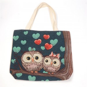 WENZHE Best Selling Cartoon Owl Printed Organic Chevron Cotton Tote Bag For Beach