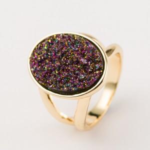 Wholesale Druzy Quartz Ring Round Natural Druzy Agate Stone Ring Women Jewelry