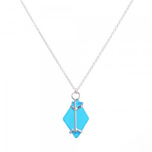 WENZHE Latest Arrival Ocean Jewelry Irregular Geometry Blue Sea Glass Pendant Silver Necklace