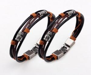 Punk jewelry accessory men delicate vintage leather wrap bracelet