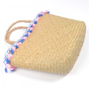 WENZHE Ladies Natural Straw Weaving Handbags Colorful Tassels Straw Beach Bag