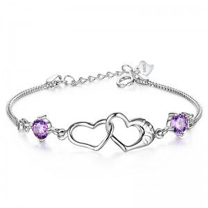 WENZHE Lady Wedding Gift 925 Sterling Silver Double Heart Crystal Tennis Chain Bracelet