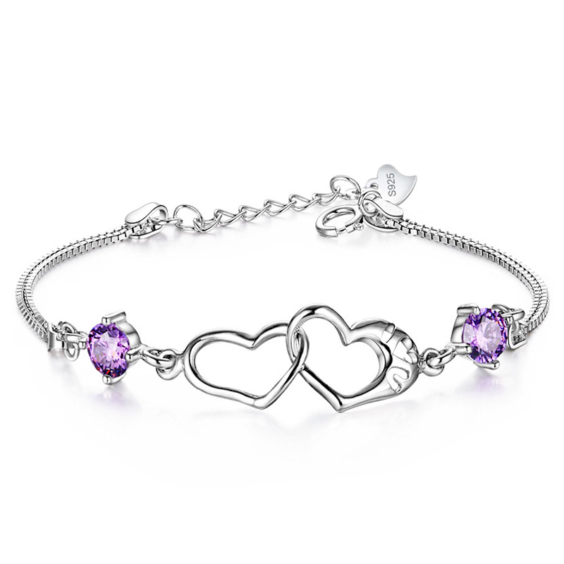 WENZHE Lady Wedding Gift 925 Sterling Silver Double Heart Crystal Tennis Chain Bracelet Featured Image