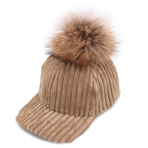 WENZHE Fur Ball Pompoms Warm Cap Women Corduroy Hat Winter Baseball Caps