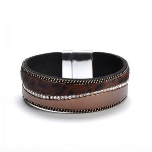 WENZHE Boho Women Bracelet Jewelry Female Leopard Crystal Leather Bangle