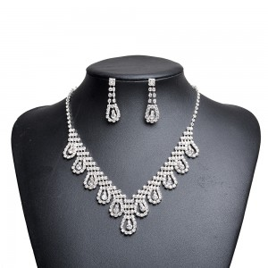 WENZHE High Quality Zirconia Wedding Necklace And Earrings Luxury Crystal Bridal Jewelry Sets