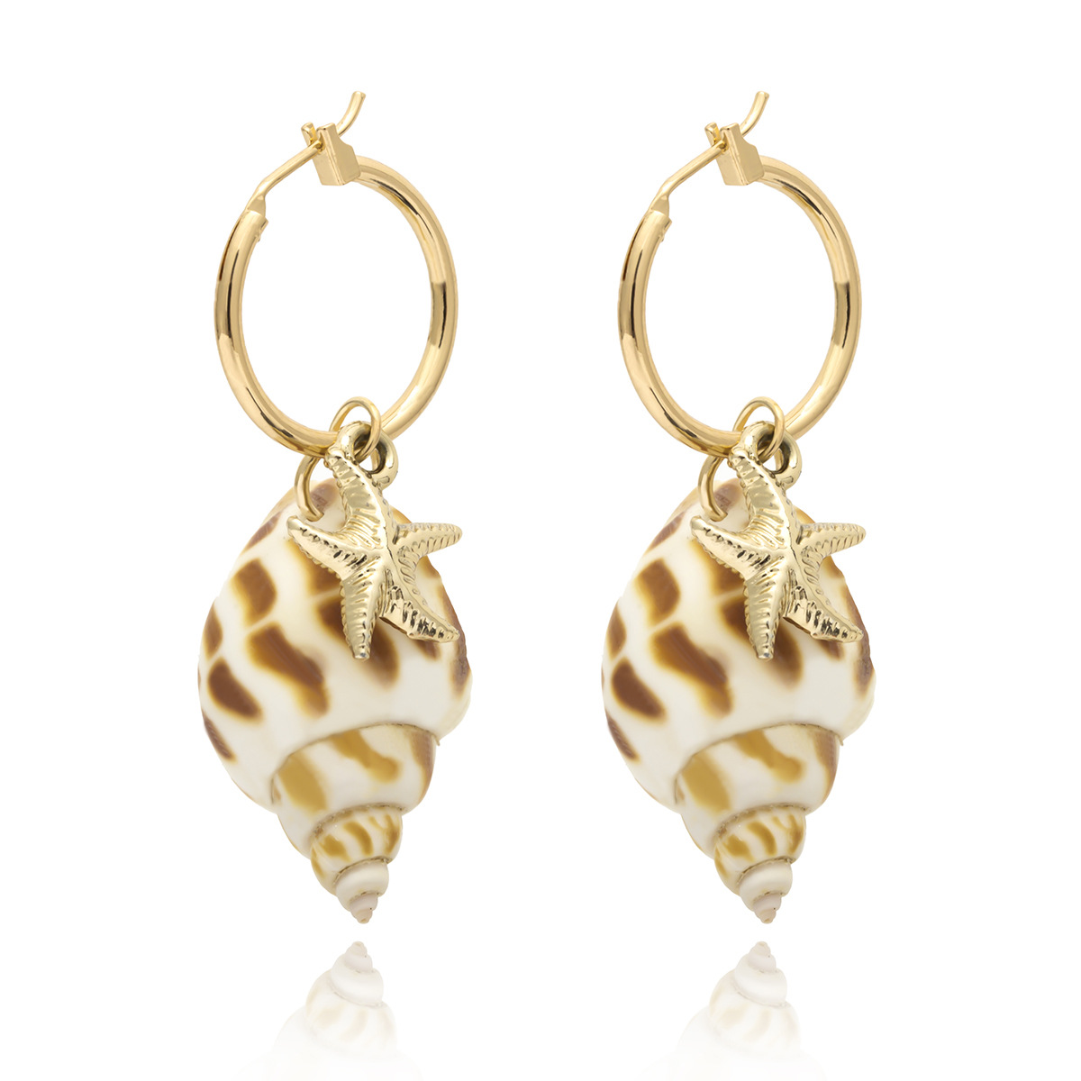 WENZHE Simple Conch Starfish Drop Hoop Earrings Featured Image